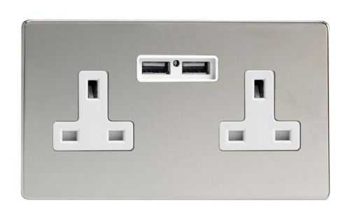 Varilight XDC5U2WS Screwless Polished Chrome 2 Gang Double 13A Unswitched Plug Socket 2.1A USB